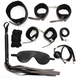 7 pcs plush bdsm set black