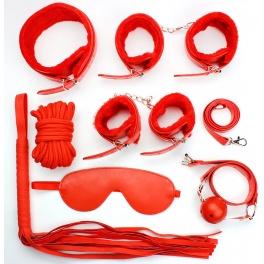 7 pcs plush bdsm set red
