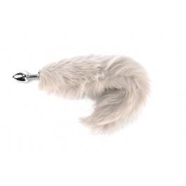 metal anal plug with light grey tail