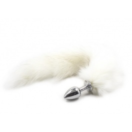 white fox tail metal anal plug