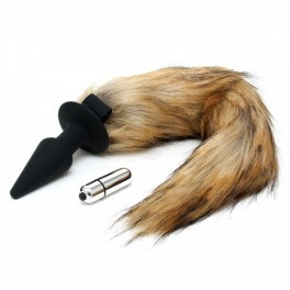 Rimba silicone fox tail vibrating anal plug