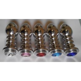 metal big anal plug, stainless steel + crystal jewelry