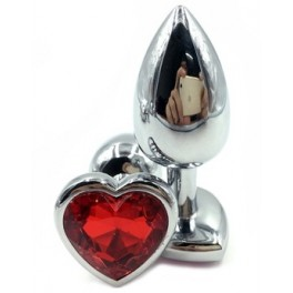 anal metal plug with heart crystal