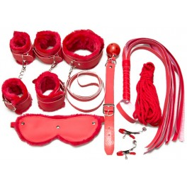 8 pcs bdsm plush set red