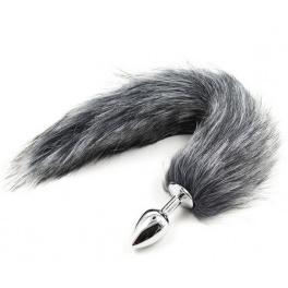 metal anal plug with grey tail